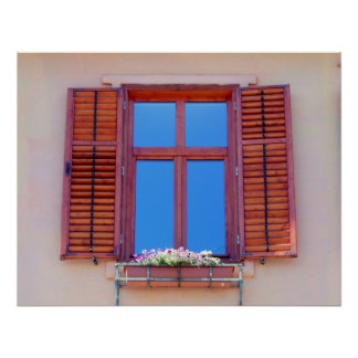 Window With Wooden Shutters Poster