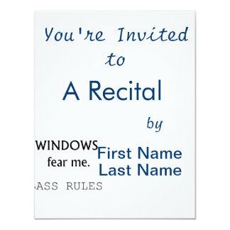 Windows Fear me Bass Rules Bass Guitar Design 11 Cm X 14 Cm Invitation Card