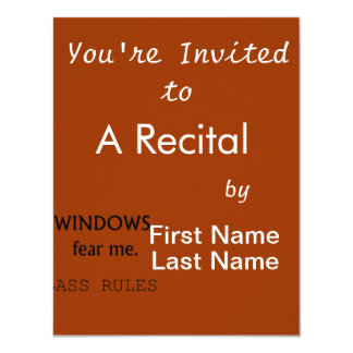 Windows Fear me Bass Rules Bass Guitar Design 11 Cm X 14 Cm Invitation Card