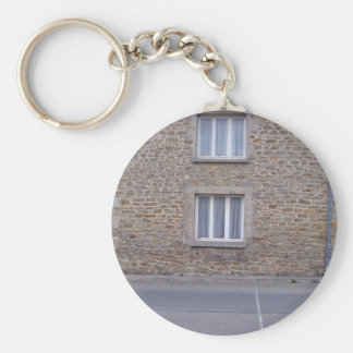 Windows In Rough Stone Wall House With Lace Curtai Key Ring