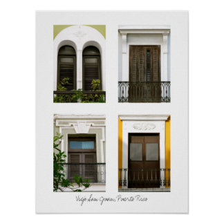 Windows Of Old San Juan, Puerto Rico Poster