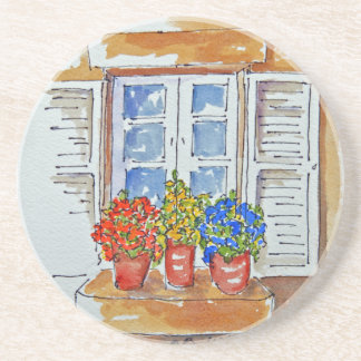 Windowsill Cheer on Sandstone Coasters