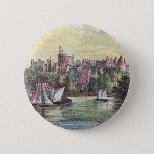 Windsor Castle Across the Thames 6 Cm Round Badge