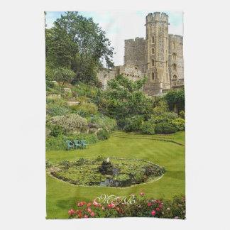 Windsor Castle - Edward III Tower and Moat Garden Tea Towel