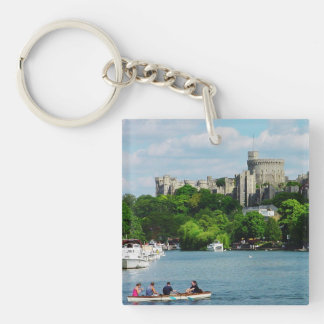 Windsor Castle from the Thames Double-Sided Square Acrylic Key Ring