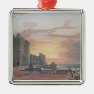 Windsor Castle: North Terrace looking west at suns Silver-Colored Square Decoration