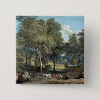 Windsor Forest with Oxen Drawing Timber, 1798 15 Cm Square Badge