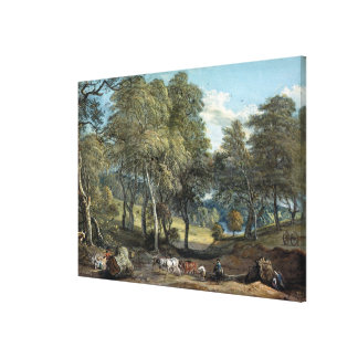 Windsor Forest with Oxen Drawing Timber, 1798 Canvas Print