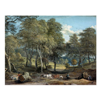Windsor Forest with Oxen Drawing Timber, 1798 Postcard