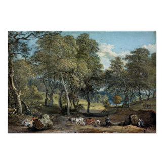 Windsor Forest with Oxen Drawing Timber, 1798 Poster