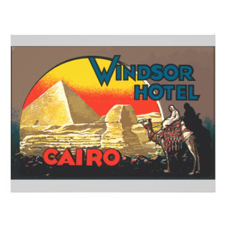 Windsor Hotel Cairo, Vintage 21.5 Cm X 28 Cm Flyer