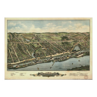 Windsor Locks Conn.1877 Antique Panoramic Map Poster
