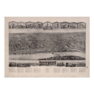 Windsor Locks Conn. 1913 Antique Panoramic Map Posters
