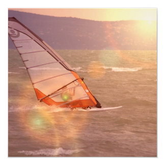 "Windsurf Design Invitations 5.25"" Square Invitation Card"
