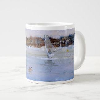 Windsurfer and Bathers Large Coffee Mug
