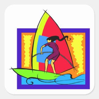 Windsurfer Ocean Sports Boat Surf Waves Square Sticker