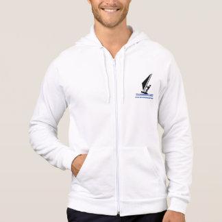 Windsurfer on board black, blue windsurfing custom hooded sweatshirt