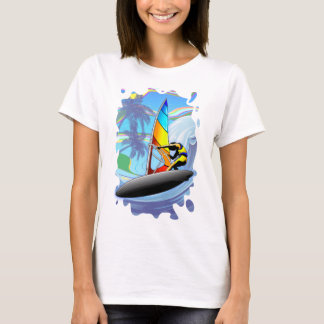 WindSurfer on Ocean Waves Women's Basic T-Shirt
