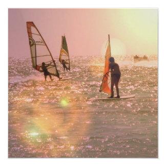 "Windsurfers Invitation 5.25"" Square Invitation Card"