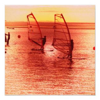 "Windsurfers on Horizon Invitations 5.25"" Square Invitation Card"