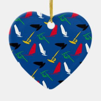 Windsurfing Ceramic Heart Decoration