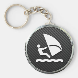 Windsurfing Icon Basic Round Button Key Ring