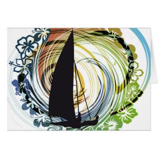 Windsurfing illustration greeting card