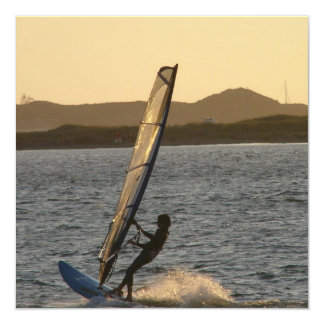 "Windsurfing Image Invitations 5.25"" Square Invitation Card"