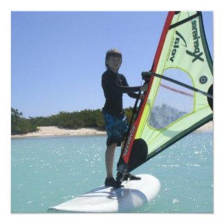 """Windsurfing Lesson Invitation 5.25"""" Square Invitation Card"""