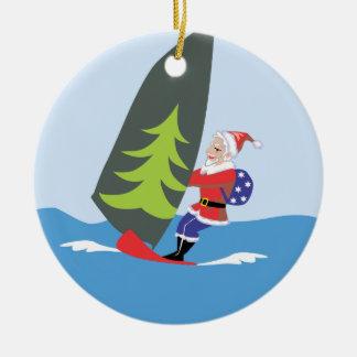 Windsurfing Santa Ornament Christmas Tree Ornament