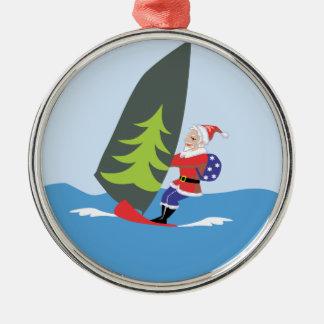 Windsurfing Santa Ornament Ornament
