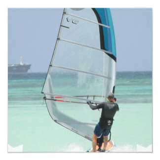 "Windsurfing Star Invitations 5.25"" Square Invitation Card"