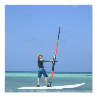 "Windsurfing Teen Invitation 5.25"" Square Invitation Card"