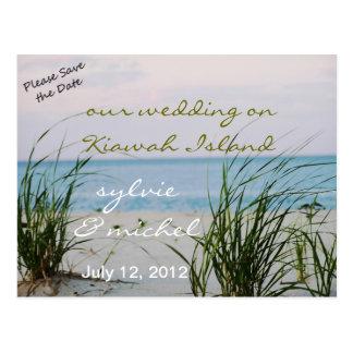 Windswept Beach Wedding Postcard