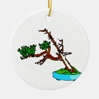 Windswept bonsai tree with deadwood graphic round ceramic decoration