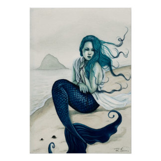 Windswept Mermaid Poster