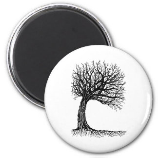 windswept tree of life 6 cm round magnet
