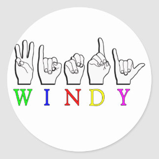 WINDY ASL FINGERSPELLED NAME SIGN STICKERS