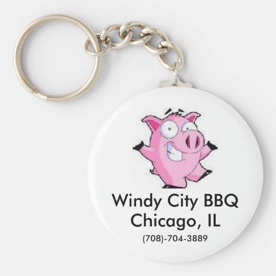 Windy City BBQ Basic Round Button Key Ring