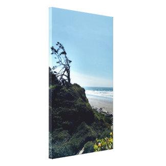 Windy Coastal Ocean Scene Stretched Canvas Print