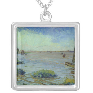 Windy Day on the Elbe, 1911 Silver Plated Necklace