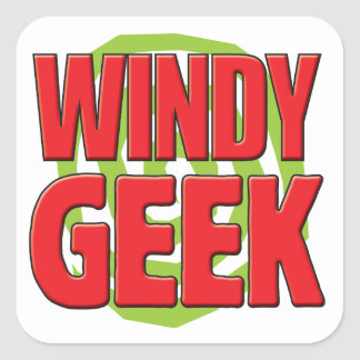 Windy Geek Square Stickers