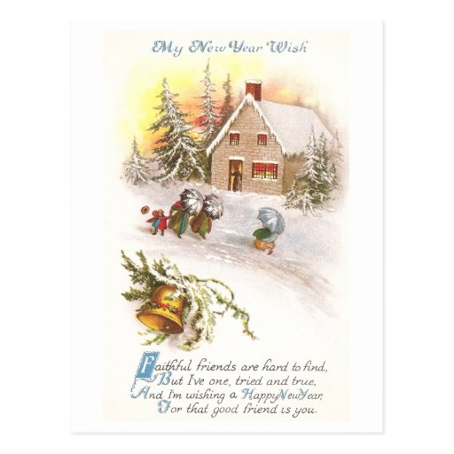 Windy New Year and Stone House with Bell Post Card