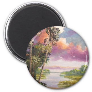 Windy Palm Trees Backwoods 6 Cm Round Magnet