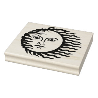 Windy Sun Rubber Art Stamp