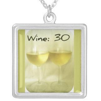 WINE30 WINE GLASSES PRINT SQUARE PENDANT NECKLACE