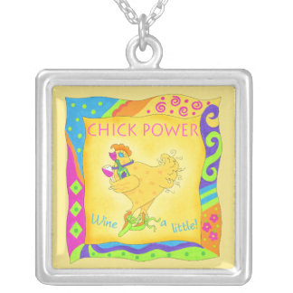 Wine a Little Chick Power Custom Yellow Personalized Necklace