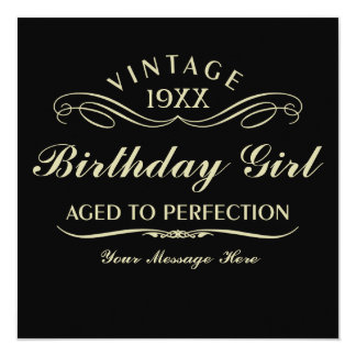 Wine Aged to Perfection Birthday Black Invitation