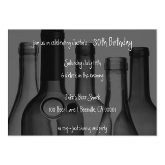 Wine and Beer Bottle Birthday Party Invitations