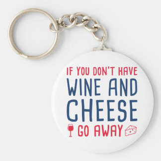 Wine And Cheese Basic Round Button Key Ring